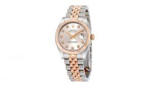 Lady Datejust 31 Silver Diamond Dial Steel and Everose Gold Jubilee Rolex Kadın Saati
