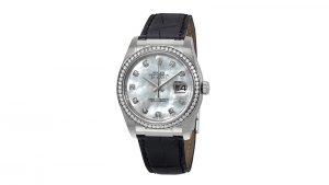 Datejust 36 Mother of Pearl Dial Automatic Leather Rolex Kadın Saati