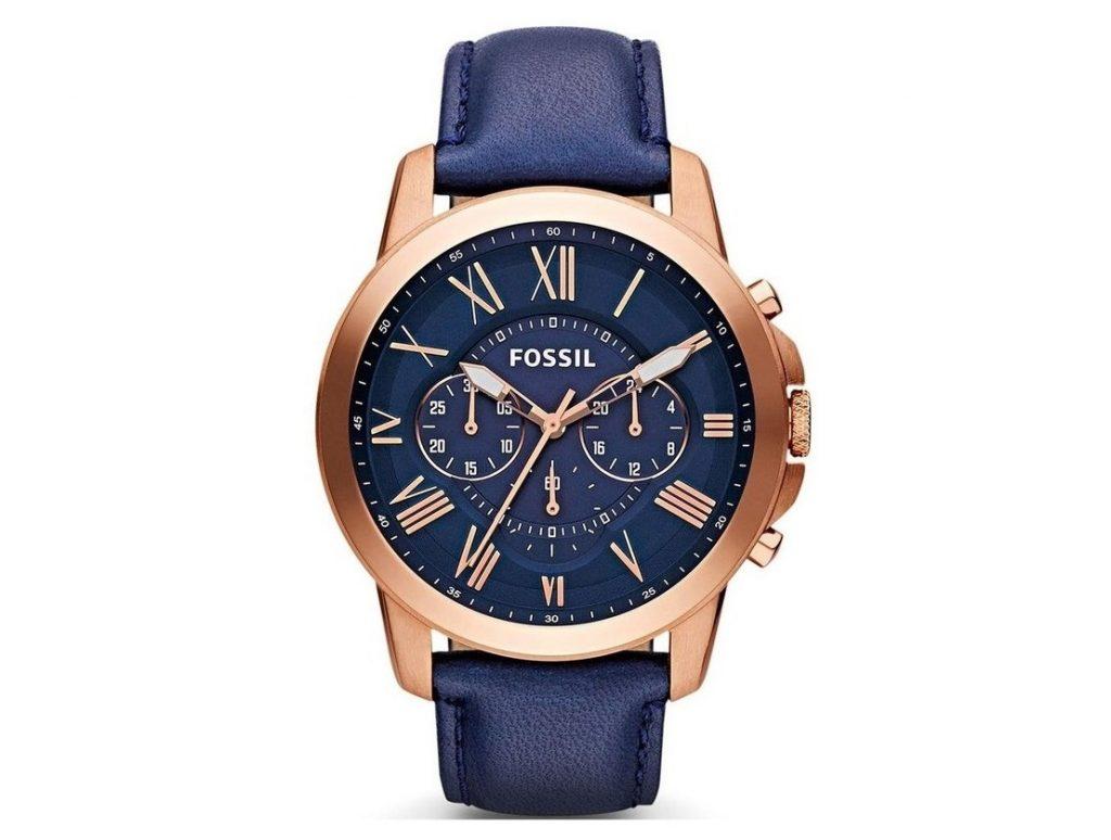 Fossil - FS4835 Grant Chronograph Navy Watch in Rose Gold Erkek Kol Saati
