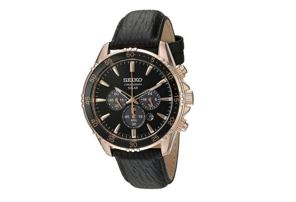 Seiko SSC448 Men's Gold and Black Chronograph Erkek Kol Saati